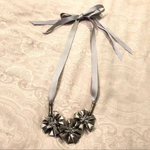 J.Crew Silver Statement Ribbon Necklace